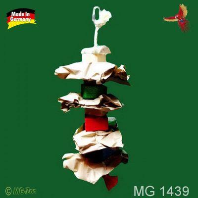 Spielzeug für kleine Papageien und Sittiche mit Papier, Knabberholz am Sisalseil ca. 35 cm lang ca. 12 cm breit