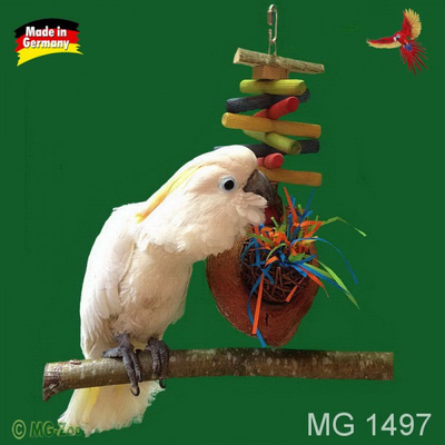 Schredderspielzeug für Papageien mit Weide und Cocosnuss ca. 35 cm lang ca. 20 cm breit