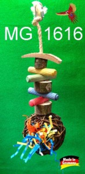 Weidenkugel Nest gefüllt mit bunten Papierschnipseln mit Knabberholz 001