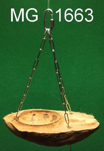 Futterschale aus einer halben Cocosnuss an 3 Edelstahlketten ( zum hängen )