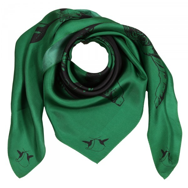 Seidentuch Eye of the Tiger Green meets Black 100% Seidentwill