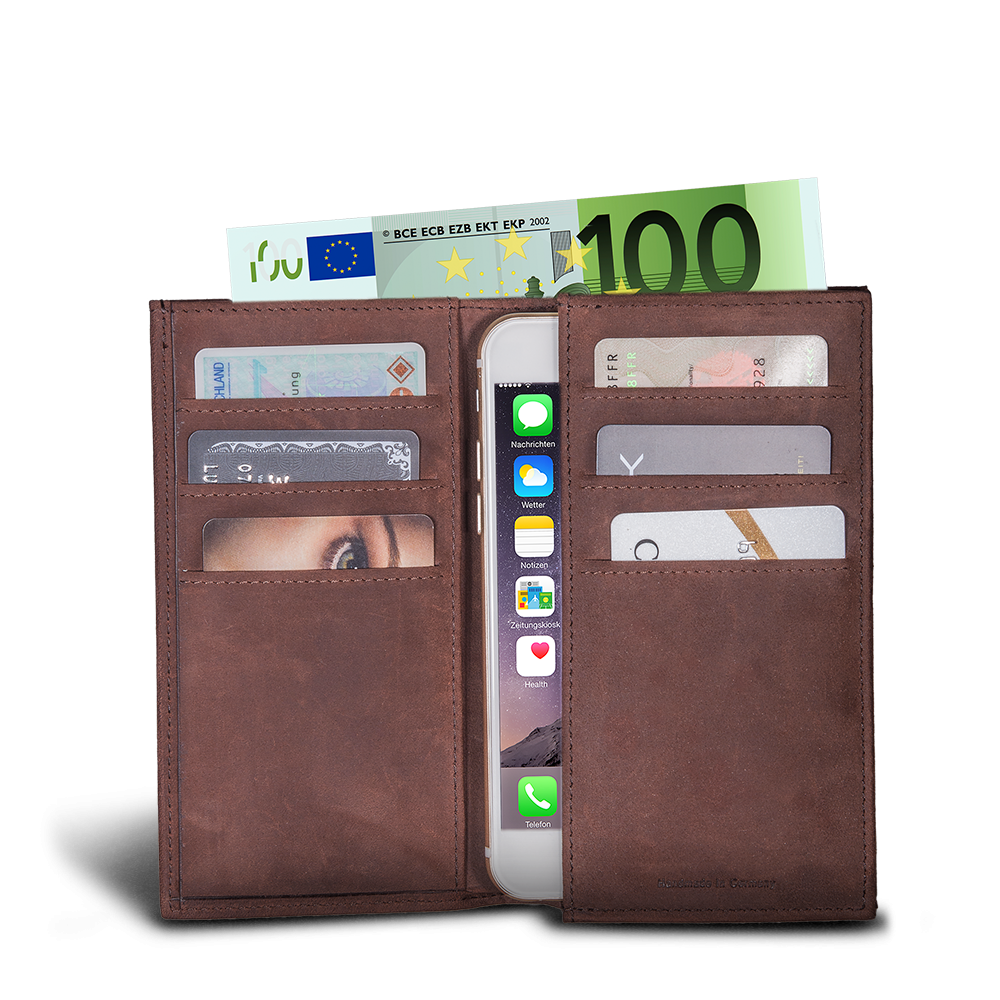 LUCA iPhone Plus & Max Etui - Nubuk Vintage Choco