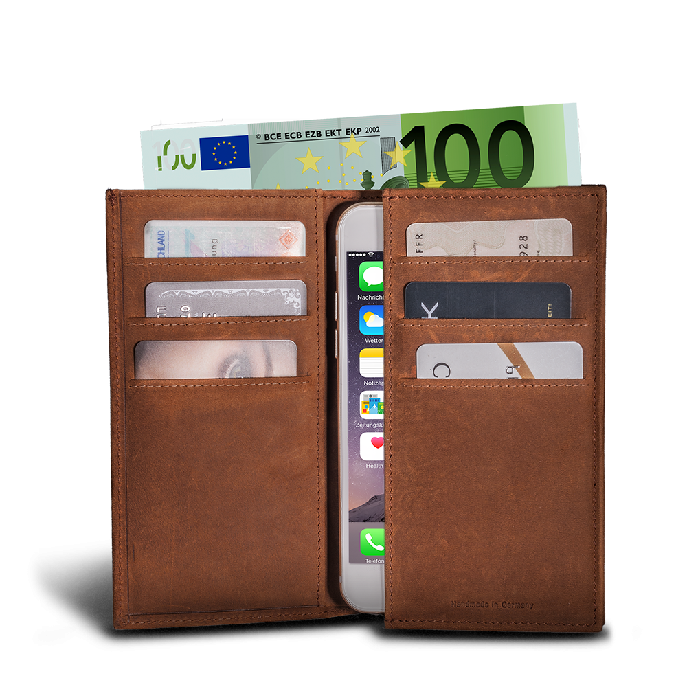 LUCA iPhone 6 wallet - nubuck antique brown 1