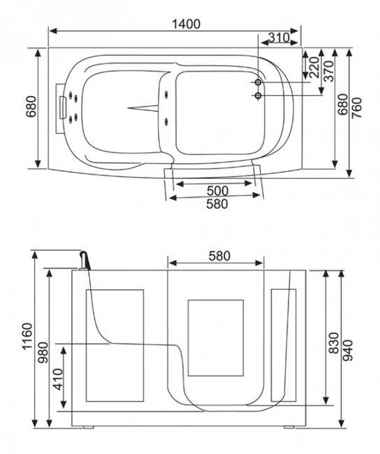 Senioren Sitzbadewanne Seniorenbadewanne Sitzwanne Badewanne mit Tür Pool A107 – Bild 4