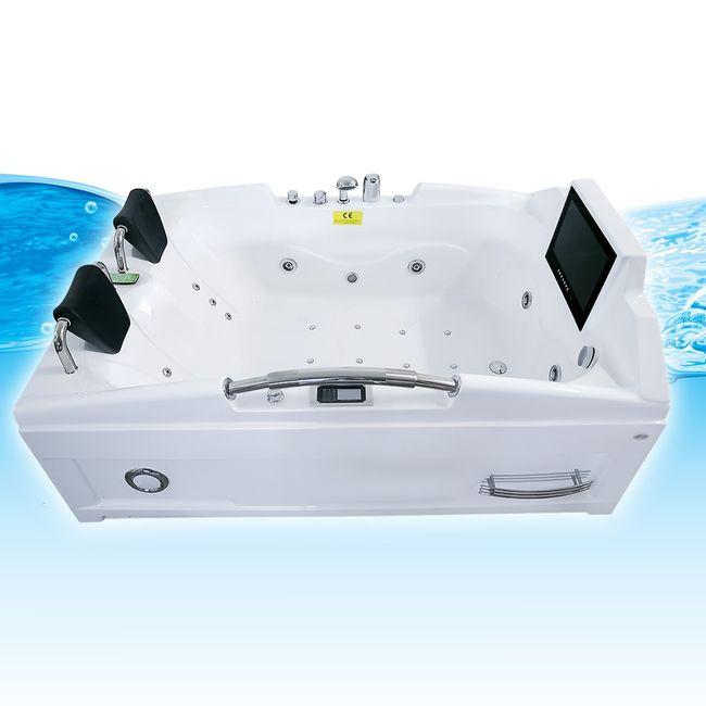 Whirlpool Vollausstattung Pool Badewanne Wanne mit TV A2118L 188x120cm – Bild 3