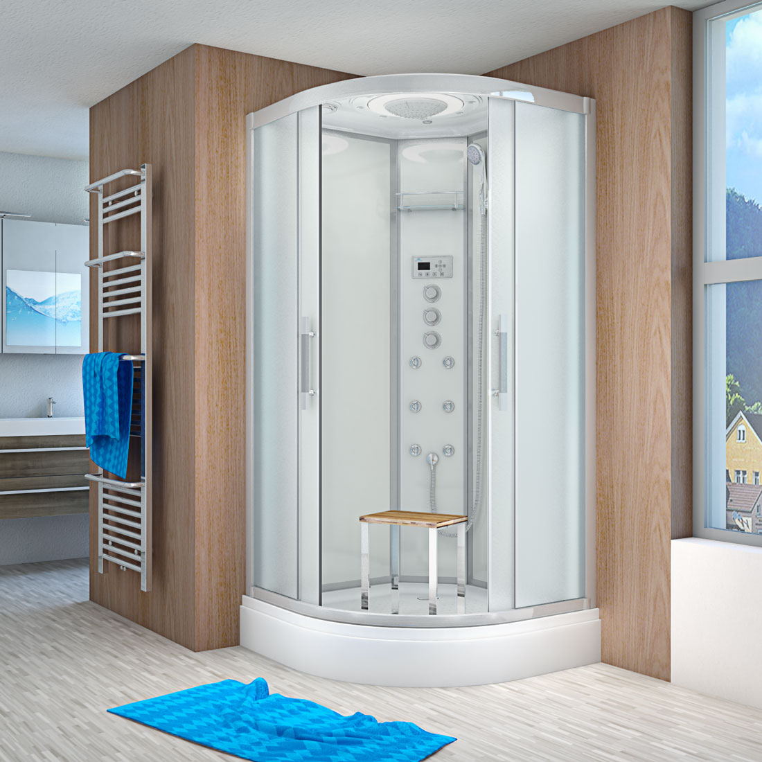 acquavapore quick26 2013 ws dusche 100x100cm. Black Bedroom Furniture Sets. Home Design Ideas