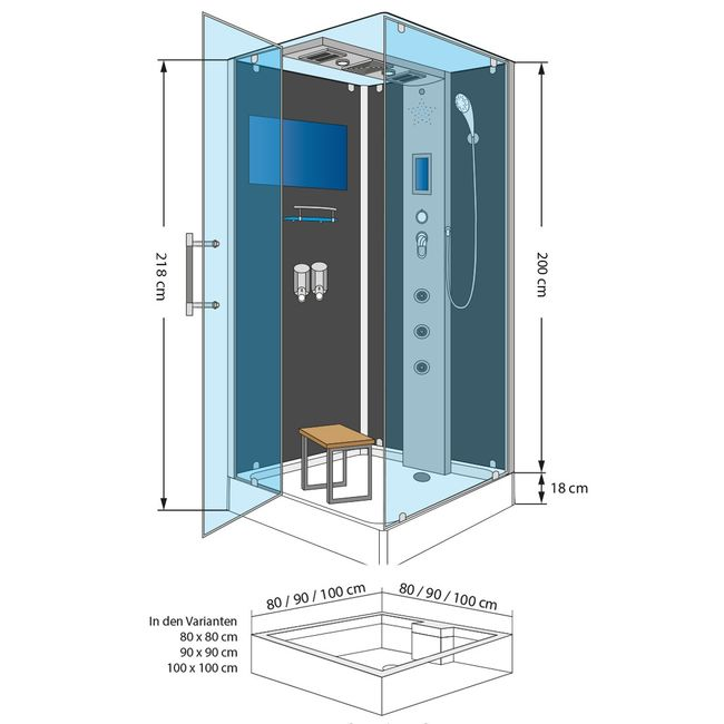 AcquaVapore DTP6038-1103L Dusche Dampfdusche Duschtempel Duschkabine -Th. 90x90 – Bild 4