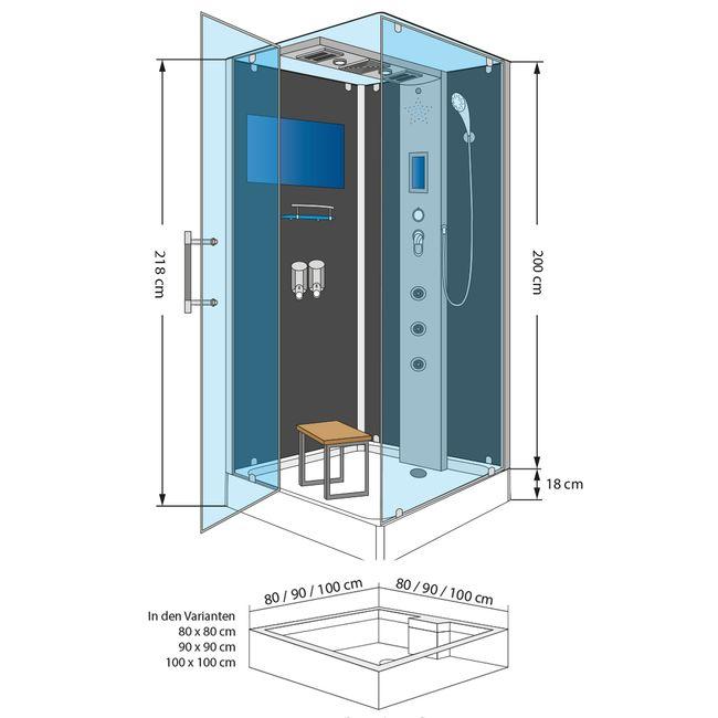 AcquaVapore DTP6038-2303L Dusche Dampfdusche Duschtempel Duschkabine -Th. 100x100 – Bild 4