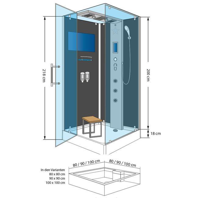 AcquaVapore DTP6038-3101L Dusche Duschtempel Komplett Duschkabine -Th. 90x90 – Bild 4