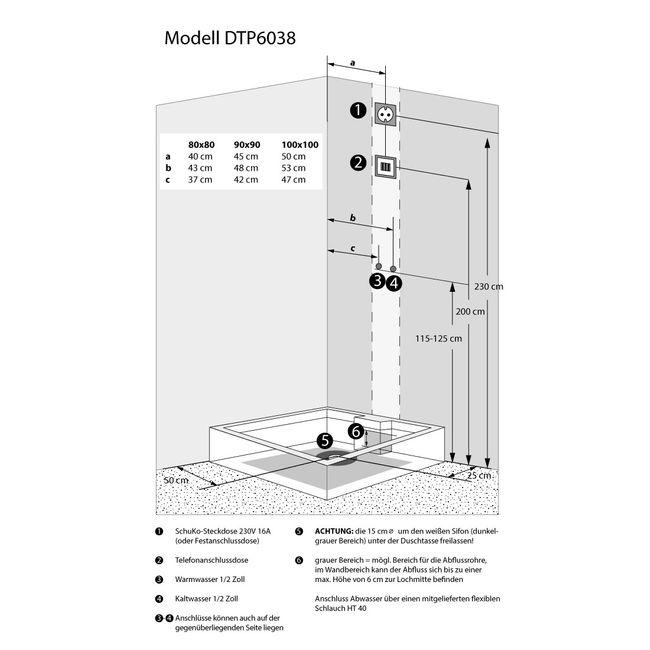 AcquaVapore DTP6038-3100R Dusche Duschtempel Komplett Duschkabine 90x90 – Bild 5