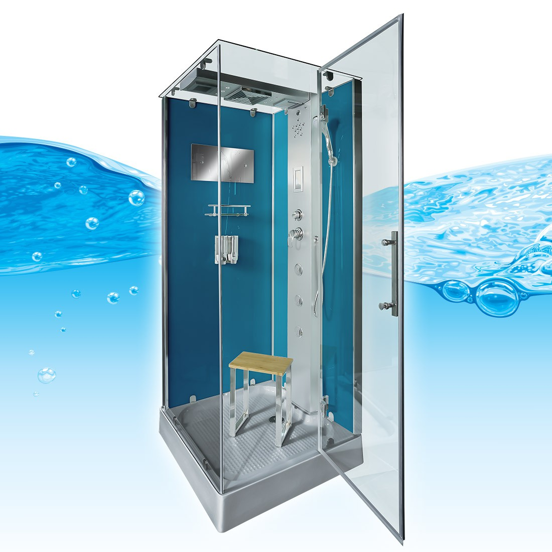 acquavapore dtp6038 3101r dusche duschtempel komplett duschkabine th 90x90 ebay. Black Bedroom Furniture Sets. Home Design Ideas