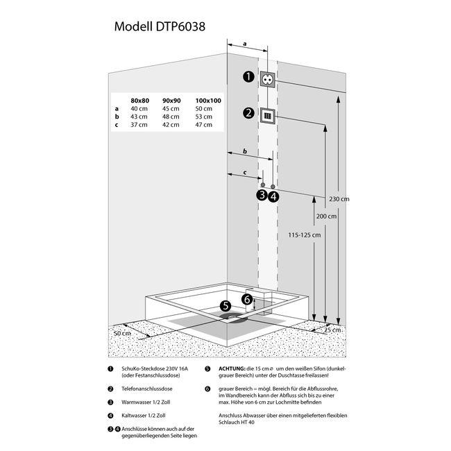 AcquaVapore DTP6038-8300R Dusche Duschtempel Komplett Duschkabine 80x80 – Bild 5