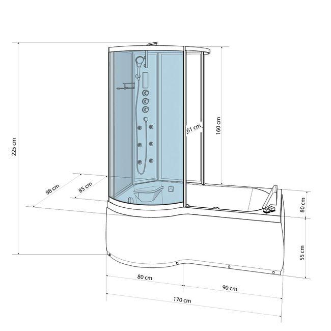 AcquaVapore DTP8050-A001R Wanne Duschtempel Badewanne Dusche Duschkabine 98x170 – Bild 4