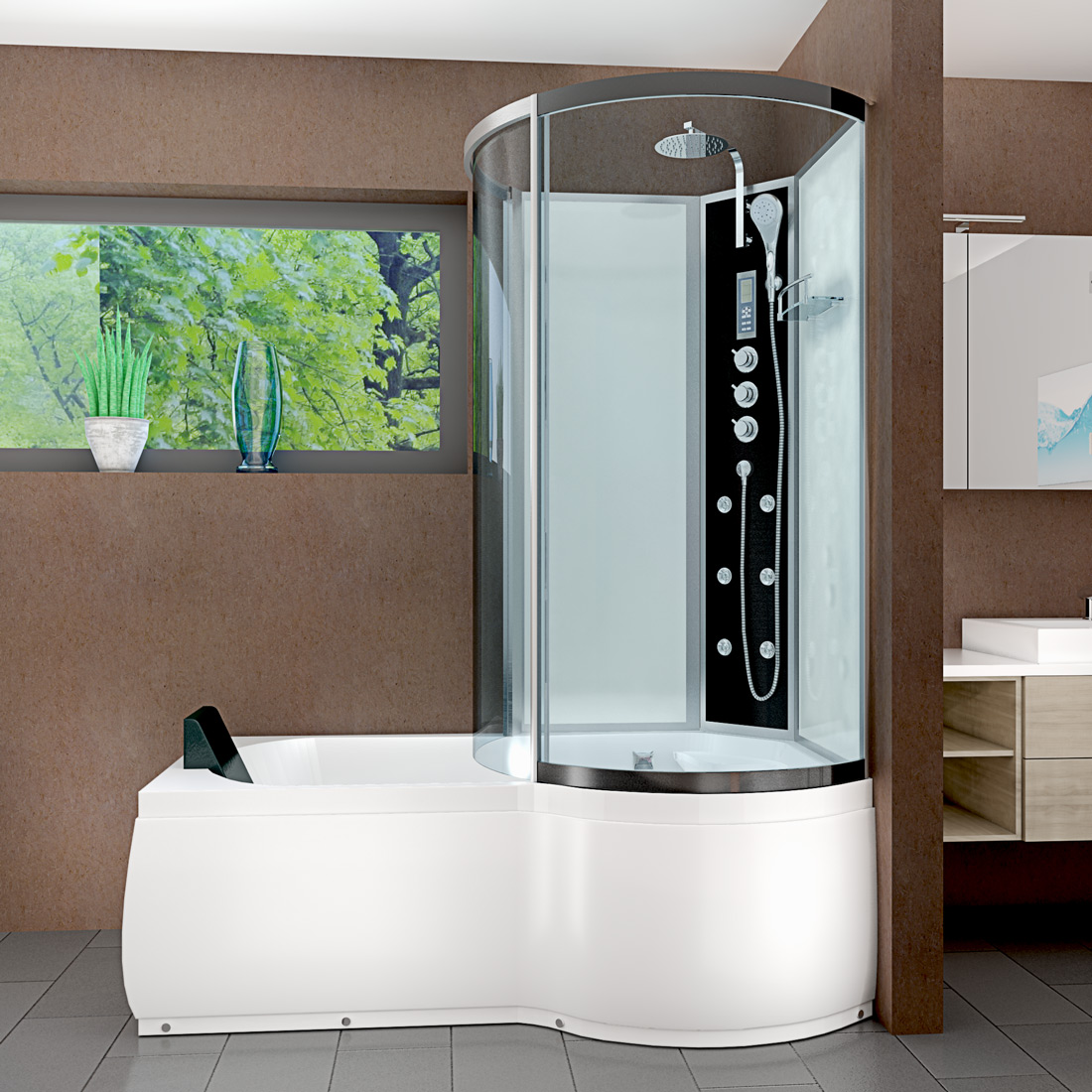 acquavapore dtp8050 a005l dusch wannen kombi in 170x98cm trendbad24. Black Bedroom Furniture Sets. Home Design Ideas