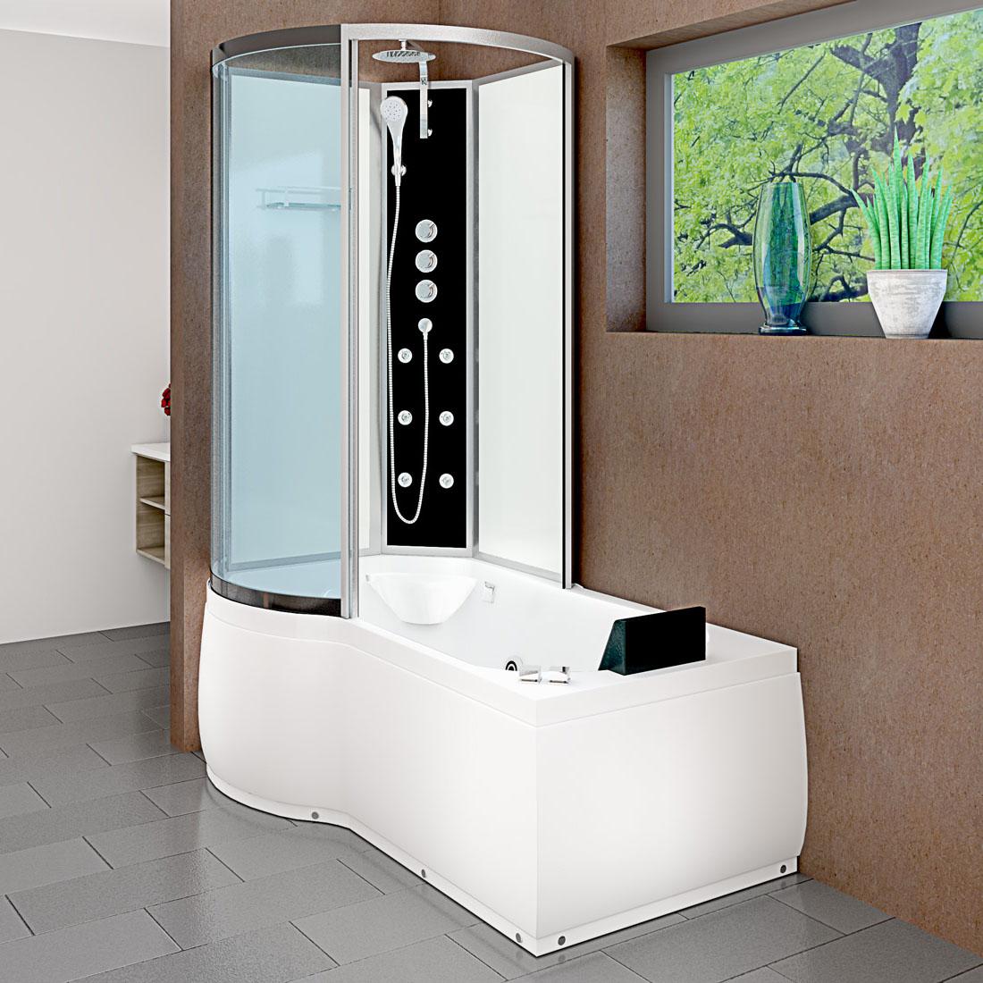 acquavapore dtp8050 a006r dusch wannen kombi in 98x170cm trendbad24. Black Bedroom Furniture Sets. Home Design Ideas