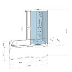 AcquaVapore DTP8050-A300L Wanne Duschtempel Badewanne Dusche Duschkabine 170x98 Bild 4