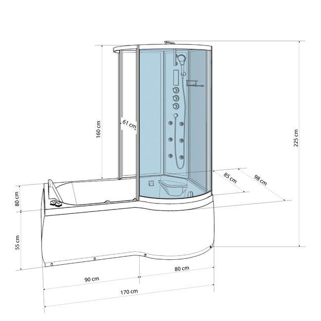 AcquaVapore DTP8050-A305L Wanne Duschtempel Badewanne Dusche Duschkabine 170x98 – Bild 4