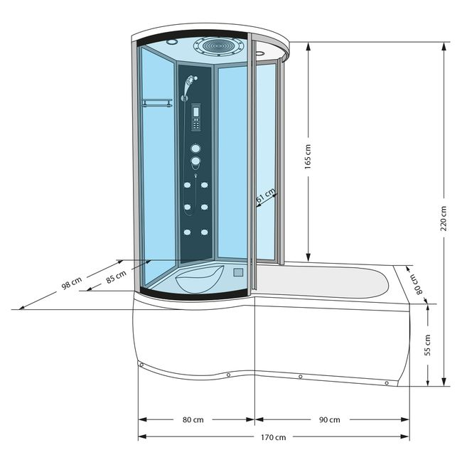 AcquaVapore DTP8055-A003R Whirlpool Wanne Duschtempel Dusche Duschkabine 98x170 – Bild 4