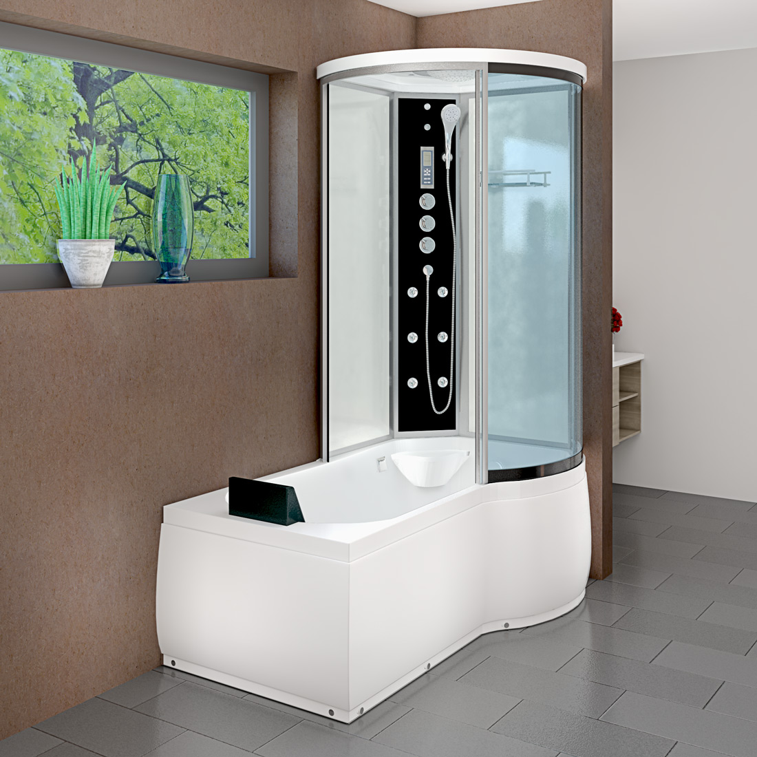 acquavapore dtp8055 a005l wanne duschtempel badewanne dusche duschkabine 170x98 ebay. Black Bedroom Furniture Sets. Home Design Ideas