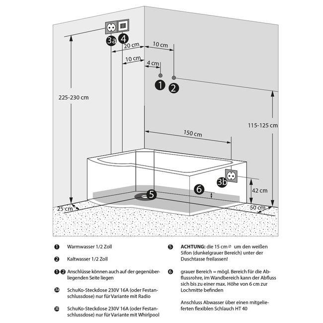 AcquaVapore DTP8055-A005R Wanne Duschtempel Badewanne Dusche Duschkabine -TH 98x170 – Bild 5