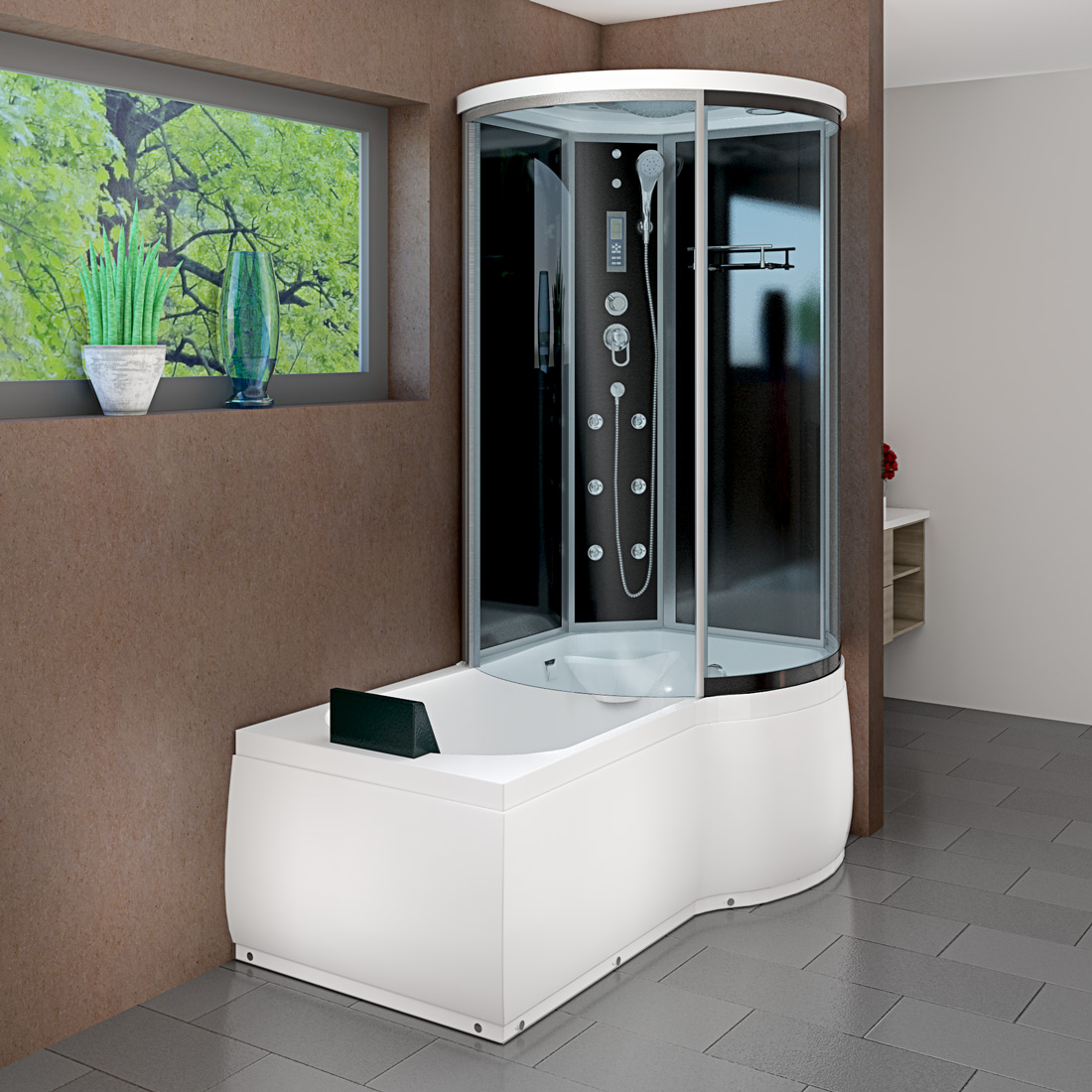 acquavapore dtp8055 a301l wanne duschtempel badewanne dusche duschkabine 170x98 ebay. Black Bedroom Furniture Sets. Home Design Ideas
