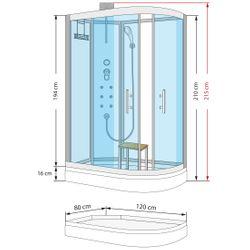 AcquaVapore QUICK16-7010R Dusche Duschtempel Komplette Duschkabine 80x120 Bild 4