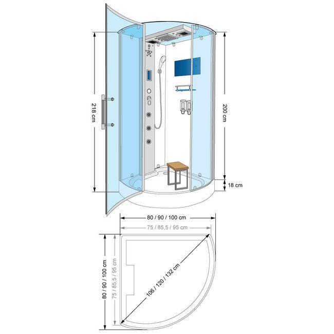 AcquaVapore DTP6037-2303 Dusche Dampfdusche Duschtempel Duschkabine -Th. 100x100 – Bild 5