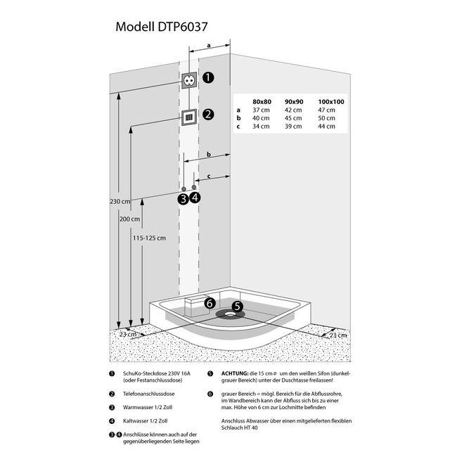 AcquaVapore DTP6037-3003 Dusche Dampfdusche Duschtempel Duschkabine -Th. 90x90 – Bild 6