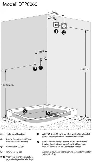 AcquaVapore DTP8060-7002L Dusche Dampfdusche Duschtempel Duschkabine 120x80 – Bild 6