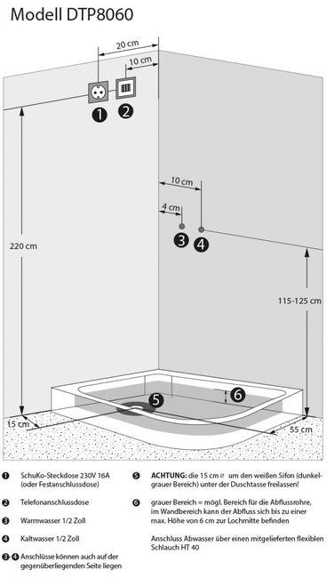 AcquaVapore DTP8060-7310R Dusche Duschtempel Komplett Duschkabine 80x120 – Bild 6