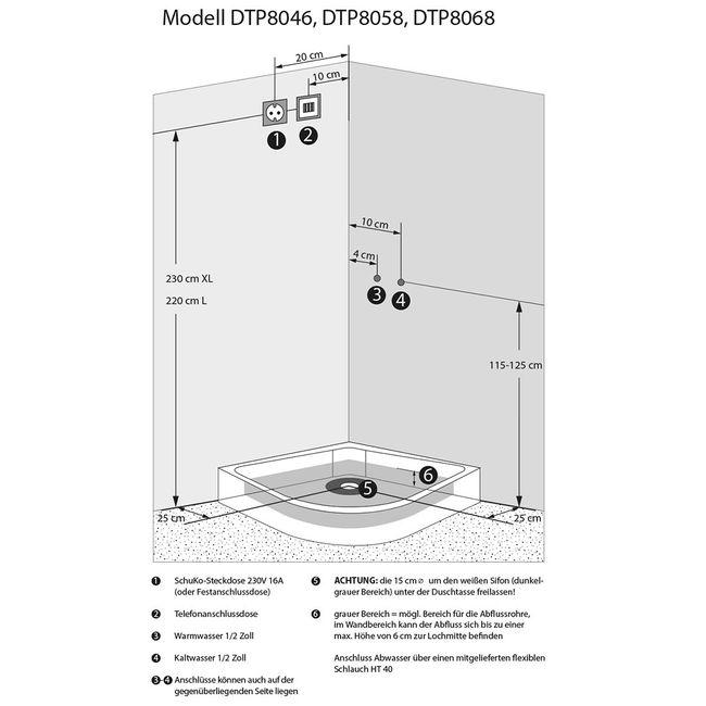 AcquaVapore DTP8046-0211 Dusche Duschtempel Komplett Duschkabine -Th. 80x80 – Bild 5