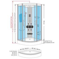 AcquaVapore DTP8046-5301 Dusche Duschtempel Komplett Duschkabine -Th 90x90XL Bild 6