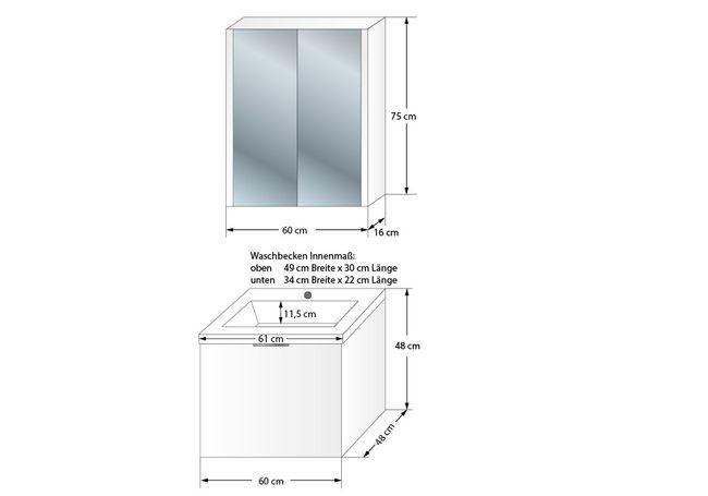 Badmöbel Set Curve 102 V1 MDF weiß, Badezimmermöbel, Waschtisch 60cm – Bild 6