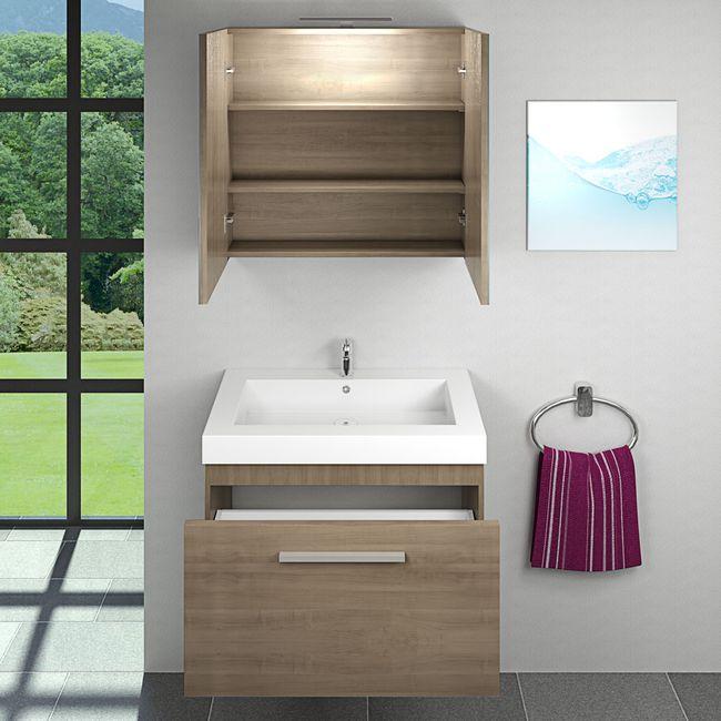 Badmöbel Set City 100 V1 Eiche hell, Badezimmermöbel, Waschtisch 80cm – Bild 3