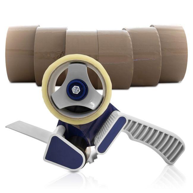 (0,02€/m) 6 Rollen Klebeband 66m Packband Paketband + 1 Profi Abroller – Bild 1