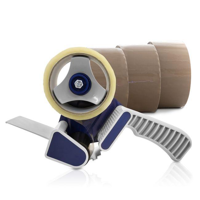 (0,02€/m) 3 Rollen Klebeband braun 50m Packband Paketband + 1 Profi Abroller – Bild 2