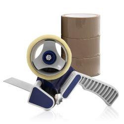 (0,02€/m) 3 Rollen Klebeband braun 50m Packband Paketband + 1 Profi Abroller