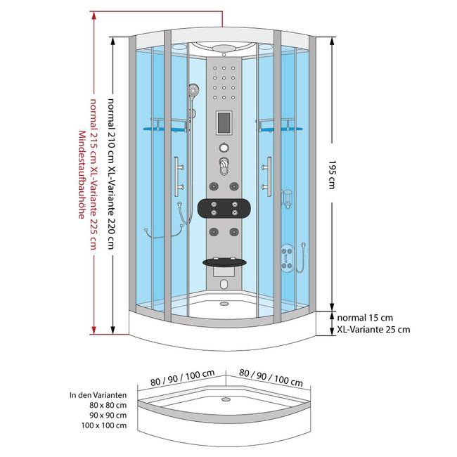 AcquaVapore DTP8058-5302 Dusche Dampfdusche Duschtempel Duschkabine 90x90 XL – Bild 6