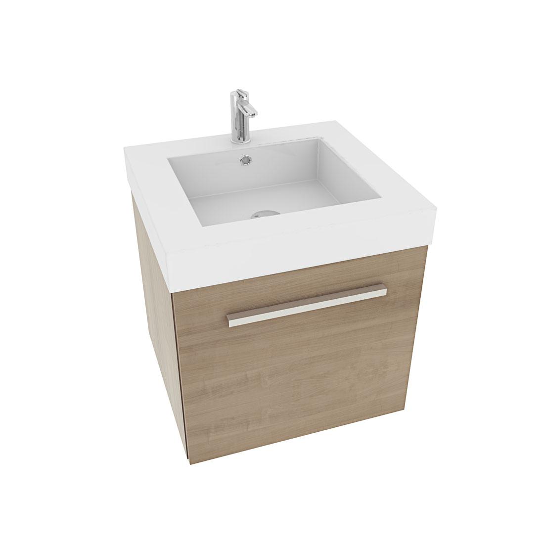 waschtisch mit waschbecken unterschrank city 100 50cm eiche hell. Black Bedroom Furniture Sets. Home Design Ideas
