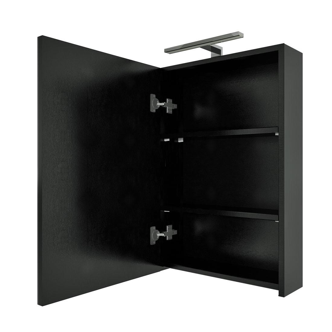 Spiegelschrank, Badspiegel, Badezimmer Spiegel City 50cm Esche schwarz