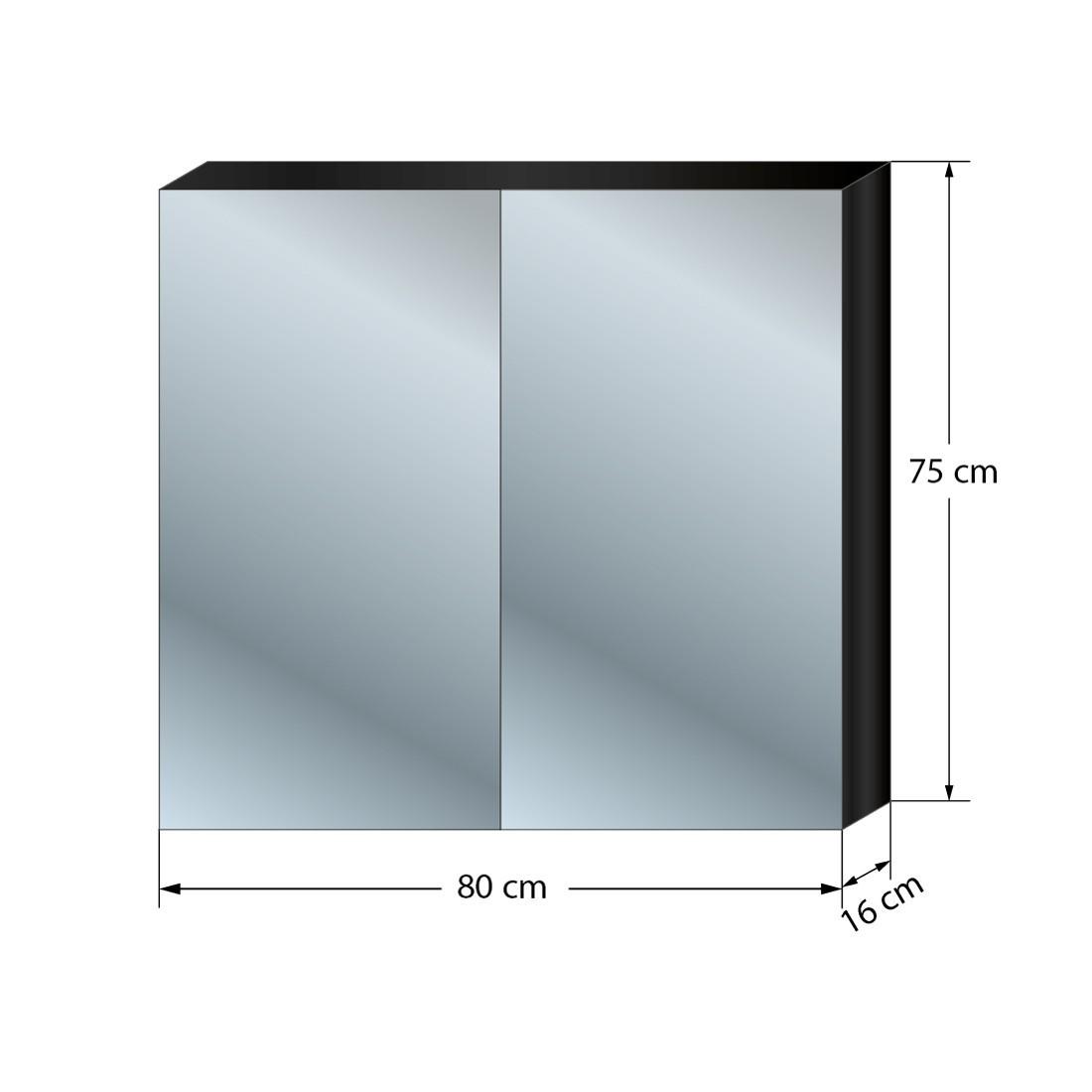 Spiegelschrank badspiegel badezimmer spiegel city 100 80cm for Bad spiegelschrank schwarz