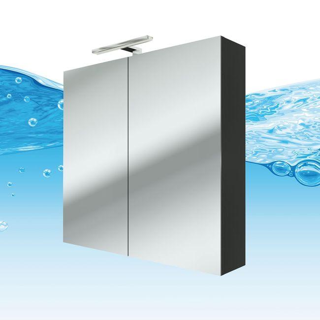Spiegelschrank Badspiegel Badezimmer Spiegel City 100 80cm Esche schwarz – Bild 1