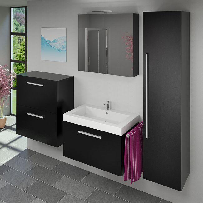 Badmöbel Set City 100 V5 Esche schwarz, Badezimmermöbel, Waschtisch 80cm – Bild 2