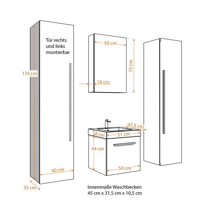 Badmöbel Set City 100 V7 Esche schwarz, Badezimmermöbel, Waschtisch 50cm – Bild 5