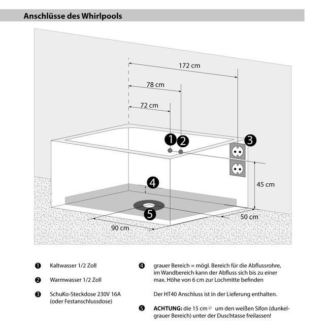 AcquaVapore Whirlpool Pool Badewanne Wanne A1813RB mit Reinigungsfunktion 90x185 – Bild 6