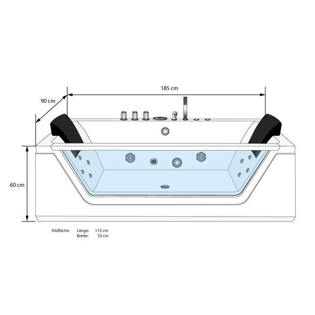 AcquaVapore Whirlpool Pool Badewanne Wanne A1813RC mit Reinigungsfunktion 185x90 – Bild 5