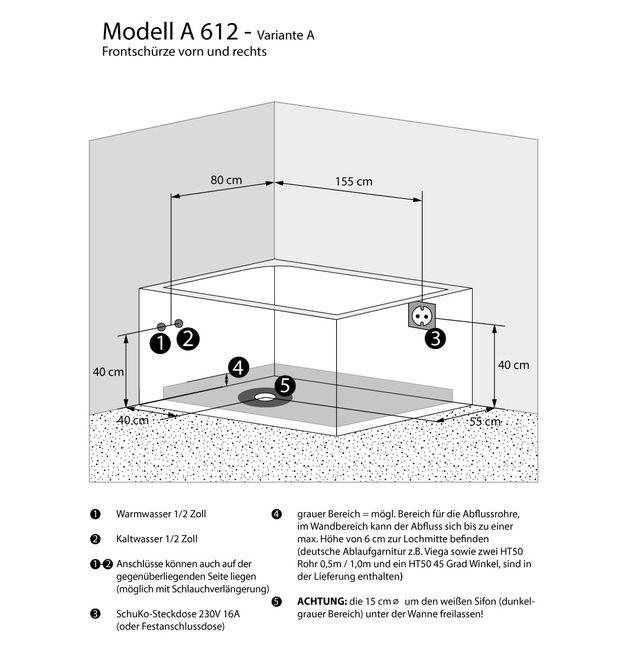 Whirlpool Vollausstattung Pool Eckwanne Wanne A612H-A Reinigungsfunktion 135x180 – Bild 5