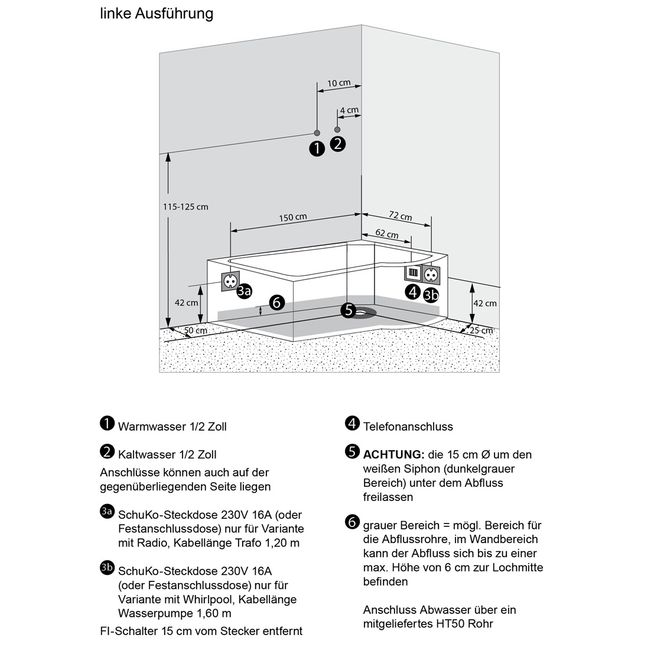 AcquaVapore DTP8050-WS Whirlpool, Badewanne, Dusche, Duschkabine 170x98 – Bild 9