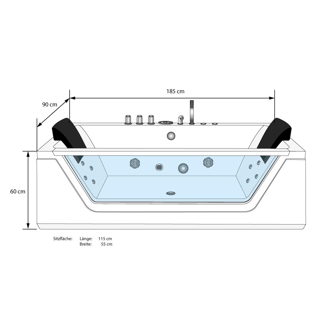 [Paket] AcquaVapore Whirlpool Pool Badewanne Wanne A1813NB mit  Reinigungsfunktion 90x185