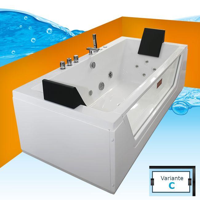 AcquaVapore Whirlpool Pool Badewanne Wanne A1813NC mit Reinigungsfunktion 185x90 – Bild 1
